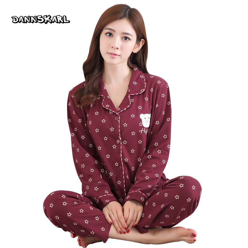 Pure Cotton Two-piece Women's Pajama Sets Night Leisure Long Pants Sleeved Woman