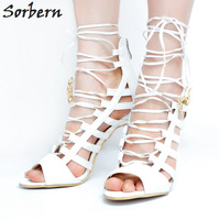 Sorbern White Women Sandals Bridal Wedding Shoes Lace Up High Heels Peep Toe Designer Shoes Women Luxury 2017 Cheap Modest Shoes