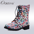 Odetina Handmade Large Size Printed Martin Boots Lace Up Women Ankle Boots Flat 2016 Autumn Shoes Winter Boots Fashion Booties