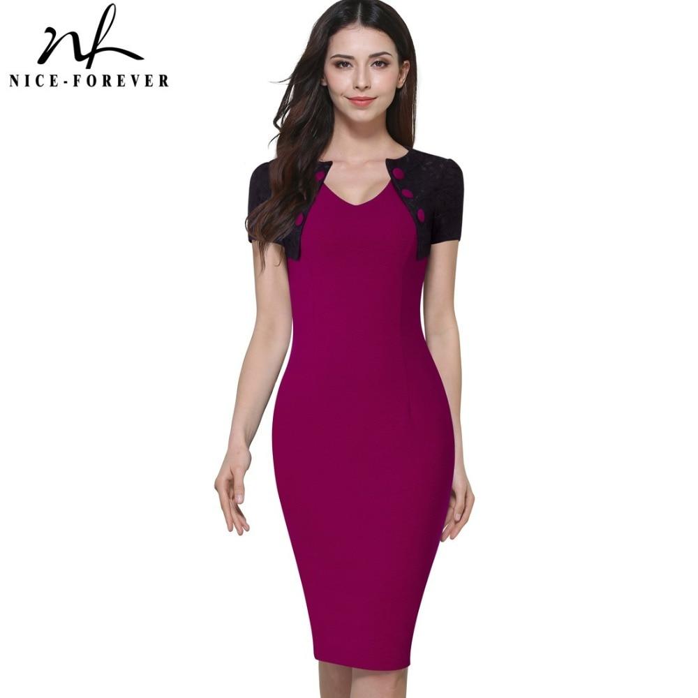 Nice-forever Vintage Ladylike V-Neck Button Short Sleeve Lace Patchwork Women Wear to Work Office Pencil Summer Slim Dress 798