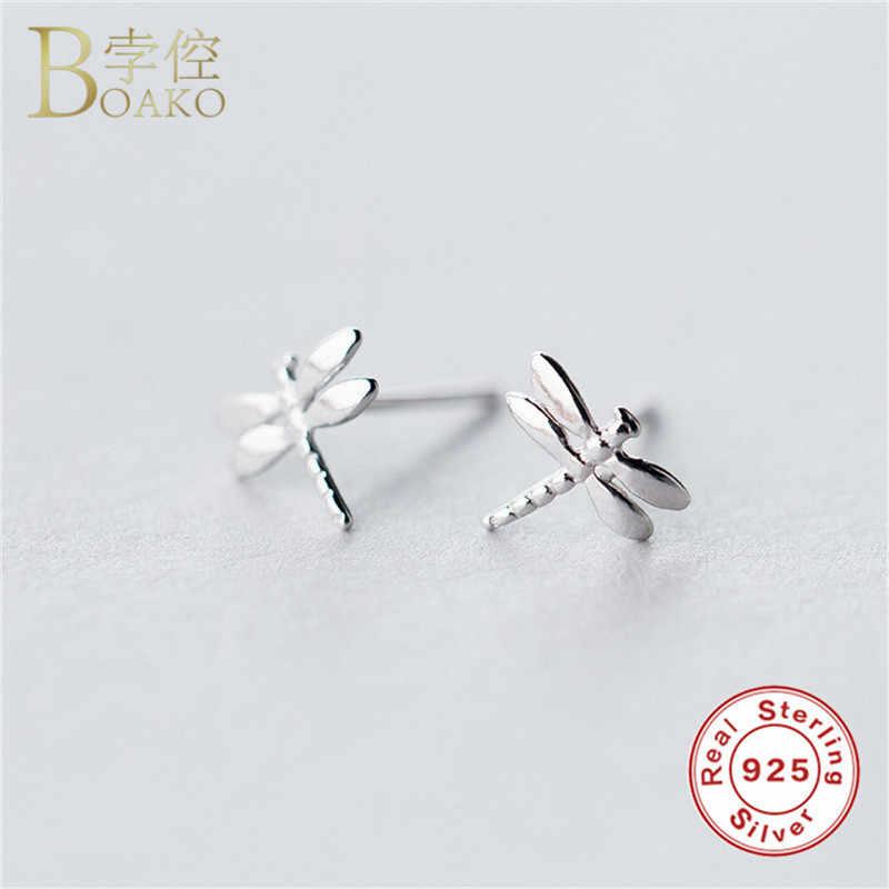 BOAKO Genuine 925 Sterling Silver Earrings for Women Twist Spiral Ear Buckle Ring Safety Pin/Snake/Dragonfly/Star Stud Earrings