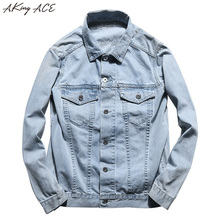 AKing ACE 2017 Spring & Autumn Jeans Jacket Casual for Male Fashion Denim Jackets Men Multi Pockets Cargo Jacket Cotton ,ZA2840