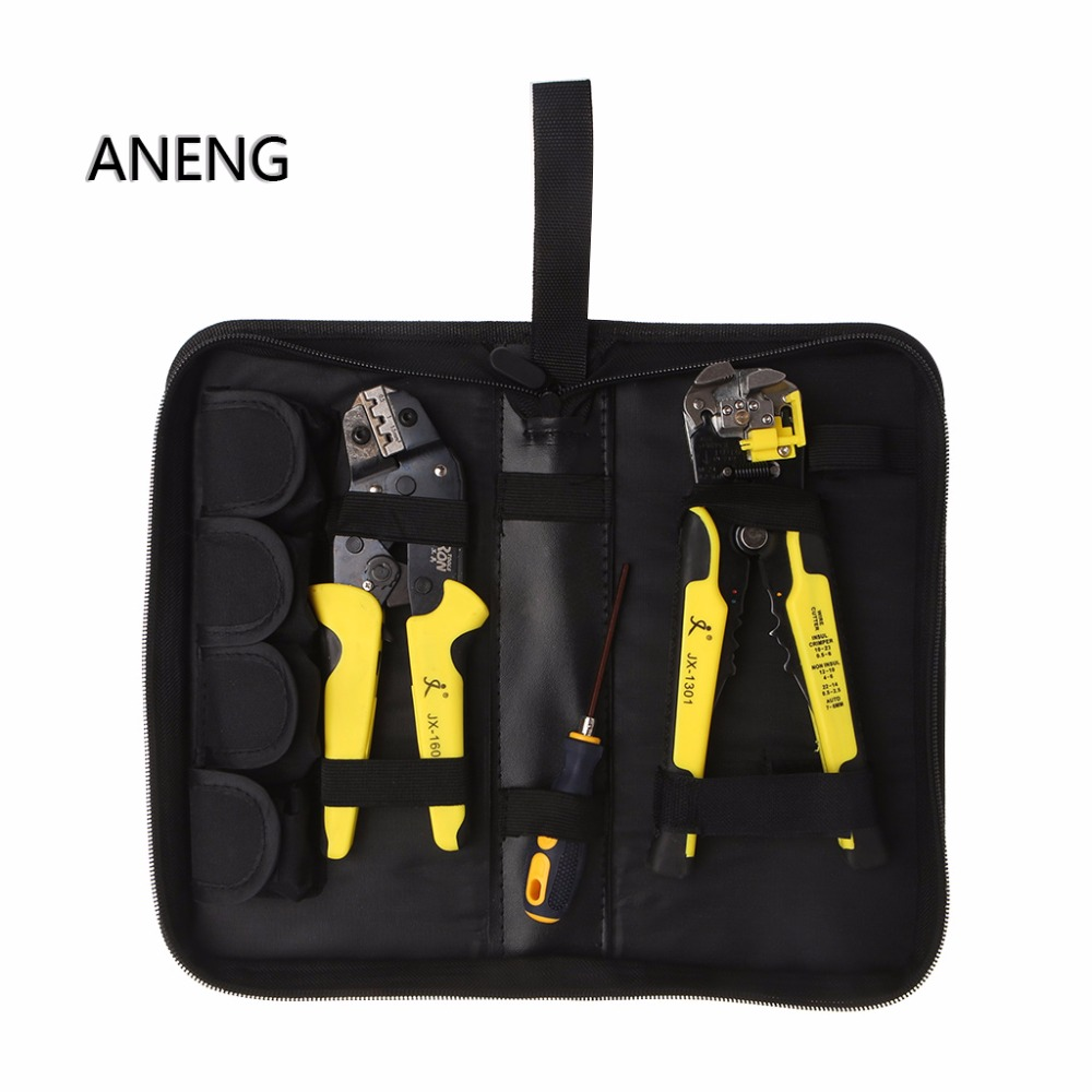 ANENG Kit 4 In 1 Ratcheting Terminals Crimping Pliers Wire Strippers Engineering Tools red plastic coated handle 7 in 1 wire strippers pliers tool scale mm inch