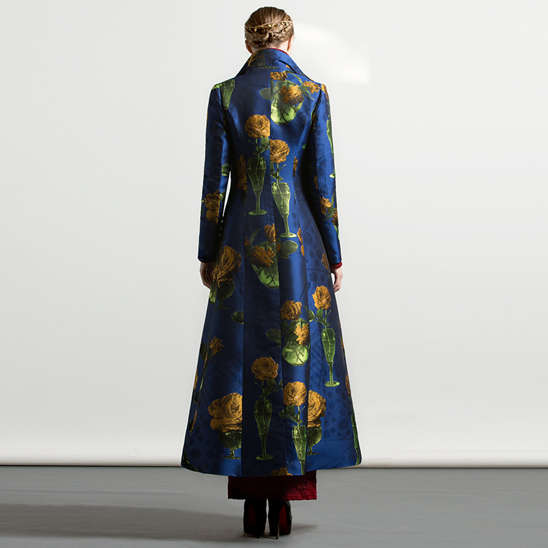 Automne De Luxe Musulman Style Tranchée D'extérieur Unique 6230 Broderie Jacquard Femmes Long Vêtements Poitrine Manteau Floral Hiver 8rzq78