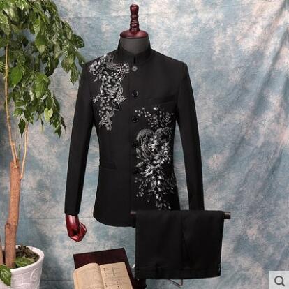 פזמון הסיני טוניקת חליפת גברים נצנצים בליזר אופנה רזה תלת ממדים דו צדדי פסיפס יהלומי בגדי צווארון עומד שחור