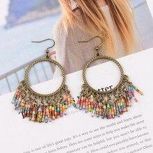 TopHanqi красочные кристалл бисер кисточка Висячие серьги новейшие богемные винтажные этнические металлические большие круглые Висячие серьги для женщин