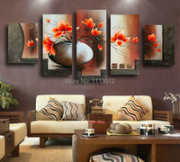 100 Hand Painted 5 Piece Set Abstract Red Flower Oil Painting On Canvas Home Wall Decoration
