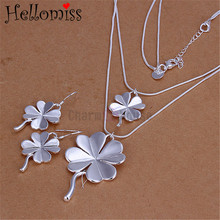 925 Sterling Silver Jewelry Sets for Women Four Leaf Clover Necklace Earring 2 Pcs Double Layer Necklaces Conjunto Joyeria Mujer