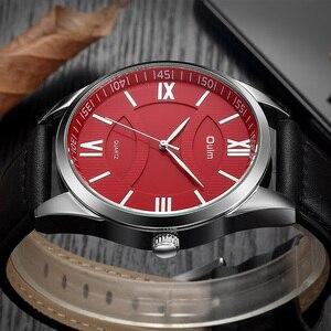 Image 3 - OULM reloj de cuarzo de gran tamaño para hombre, reloj masculino de cuarzo, con esfera roja, correa de cuero, clásico, de marca superior de lujo