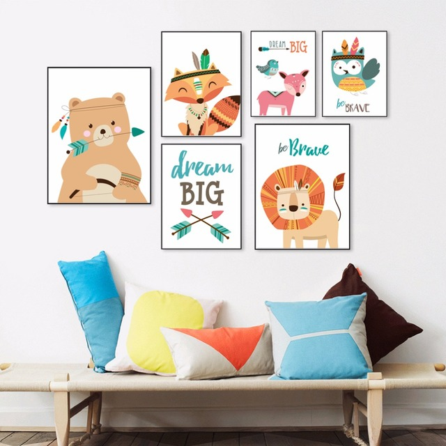 Kawaii Animals Dream Quotes Poster Canvas Painting For Kids Room Nursery Wall Art Print Picture Home Decor No Frame