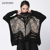 Guyunyi Female hip hop Sweaters gold and silver print hot drilling small sexy hole bat sleeve neutral lively pullover sweater 84