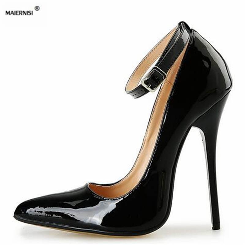 MAIERNISI Summer Brand New 14cm Ultra high thin heels wedding shoes sexy pumps Pointed toe Buckle Sandals Plus:44 45 46 47 48 49 hot new 2016 brand sexy high heels shoes summer new sandals luxury diamond female rhinestone gladiator shoes party pumps buckle