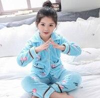 Boys Girls Pajamas Sets Autumn And Winter Kids Thick Warm Coral Velvet Suit Children's Flannel Long Sleeve Sleepwear 2Pcs PJ33