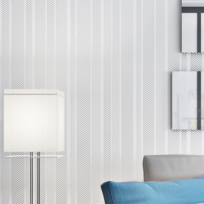 Купить с кэшбэком Modern Light Grey Solid Color Wall Papers Home Decor Non Woven Strip Wallpapers for Bedroom Living Room Walls papel de pared
