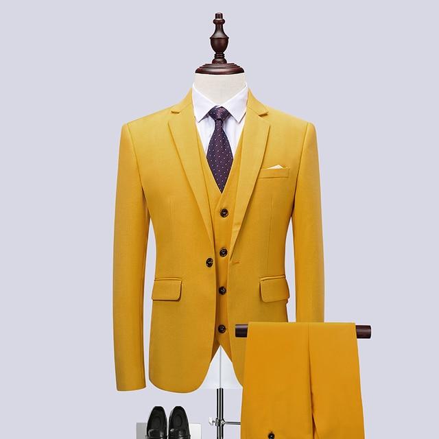 2019 new men s large size suit solid color slim three piece suit ... c1509a1ed1f6