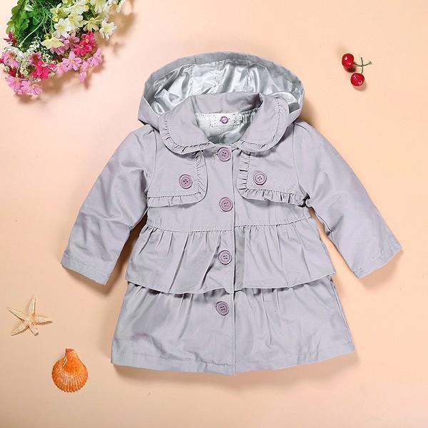 2016 Nueva niña otoño caliente chaquetas Toddler Kids Girl Princess largo abrigo con capucha vestido de los cabritos capa al por mayor