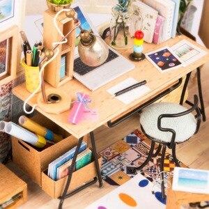 Image 5 - Robotime Diy Soho Tijd Met Meubels Kinderen Volwassen Miniatuur Houten Poppenhuis Model Building Kits Poppenhuis Speelgoed Gift DGM01