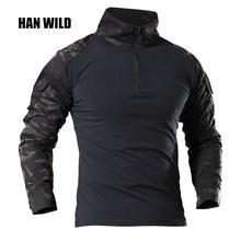 Тактическая рубашка в стиле милитари для мужчин однотонные армейские