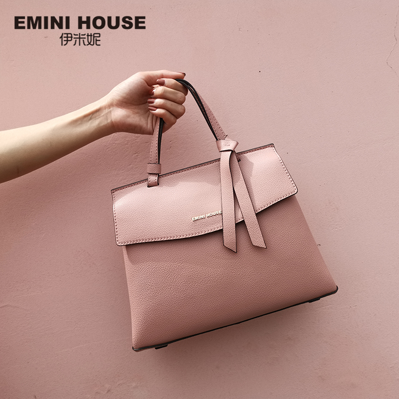 EMINI HOUSE 2 Sizes Bow Tie Luxury Handbags Women Bags Designer Litchi Grain Split Leather Shoulder