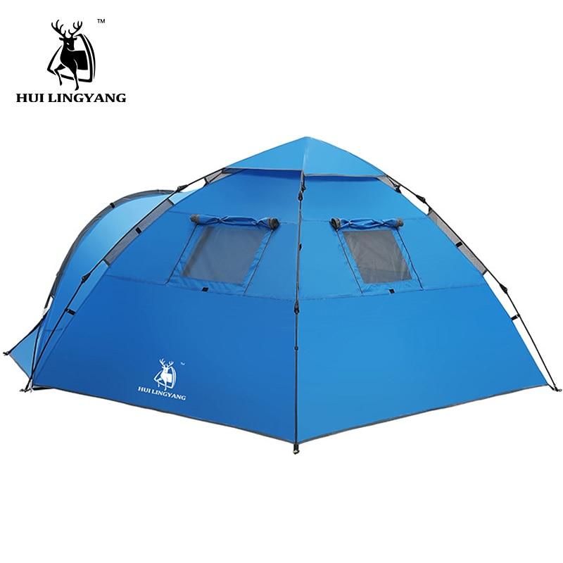 Tente touristique grand espace double 3-4 personnes tente hydraulique automatique étanche 4 saisons en plein air famille plage tente de loisirs - 3