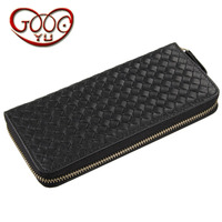 High grade leather braid vertical square long wallet European and American style business first layer leather Doka bit wallet