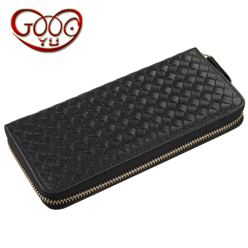 High-grade leather braid vertical square long wallet European and American style business first layer leather Doka bit wallet
