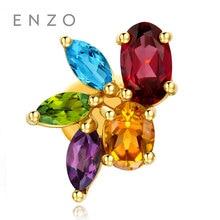 ENZO 18K Gold Earrings For Women Rainbow Natural Colourful Crystal With Citrine Peridot Amethyst BlueTopaz Garnet Fine Jewelry