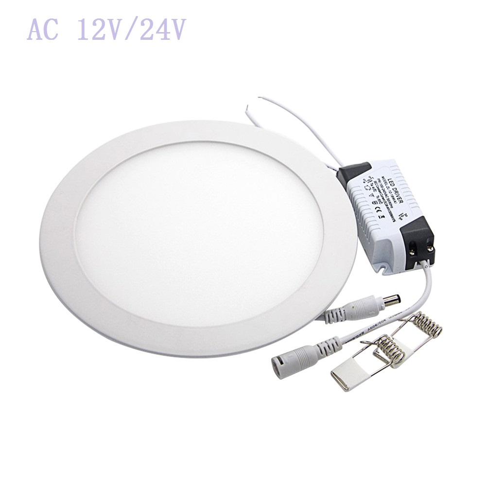 AC <font><b>12V</b></font>/24V <font><b>LED</b></font> <font><b>Downlight</b></font> 3W- 25W Round Ultrathin SMD 2835 Power Driver Ceiling Panel Lights Cool/Natural/Warm White +Driver image