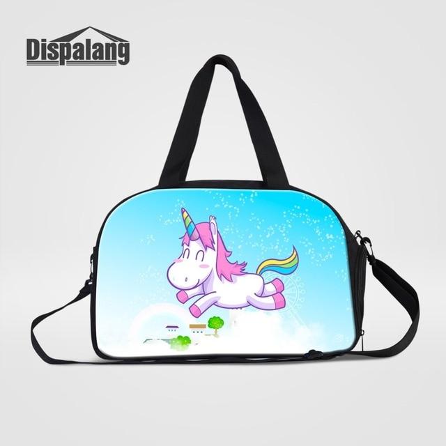 Women Custom Travel Duffle Bags Cute Cartoon Unicorn Weekend Bag Handbag  For Student Girls Canvas High Quality Overnight Duffel 5947832689