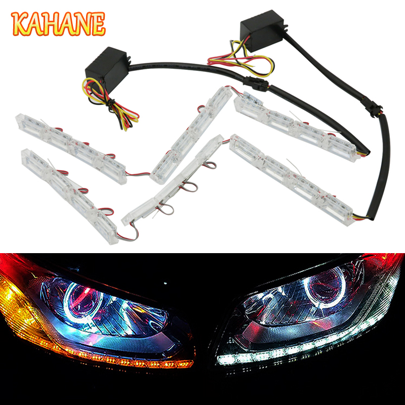 KAHANE 2x Car LED Flexible DRL Daytime Running Light Turn Signal Light FOR VW Golf Passat Polo Touran Caddy Honda Civic Accord atreus 2x car led crystal water lamp drl daytime running light 12v for volkswagen vw polo golf 4 5 6 7 passat b5 b6 touran honda