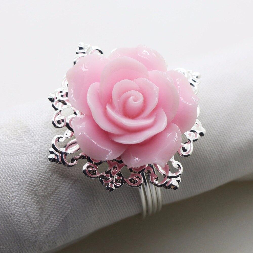 New 6pcs/ 10pcs pink Resin Rose Napkin cloth Decorative deduction Table Banquet Dinner Ring Party Entertain Wedding Napkins