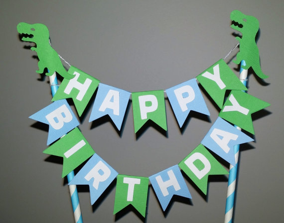 Dinosaur Happy Birthday Cake Topper Party Decorations Kids Paper Banner Supplies Green And Blue In Decorating