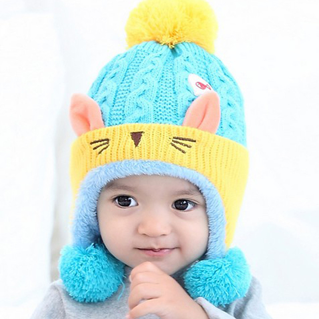 28246d2f Baby Winter Hat Warm Infant Beanie Cap For Children Boys Girls Animal Cute  Cat Ear Kids Crochet Knitted Hat