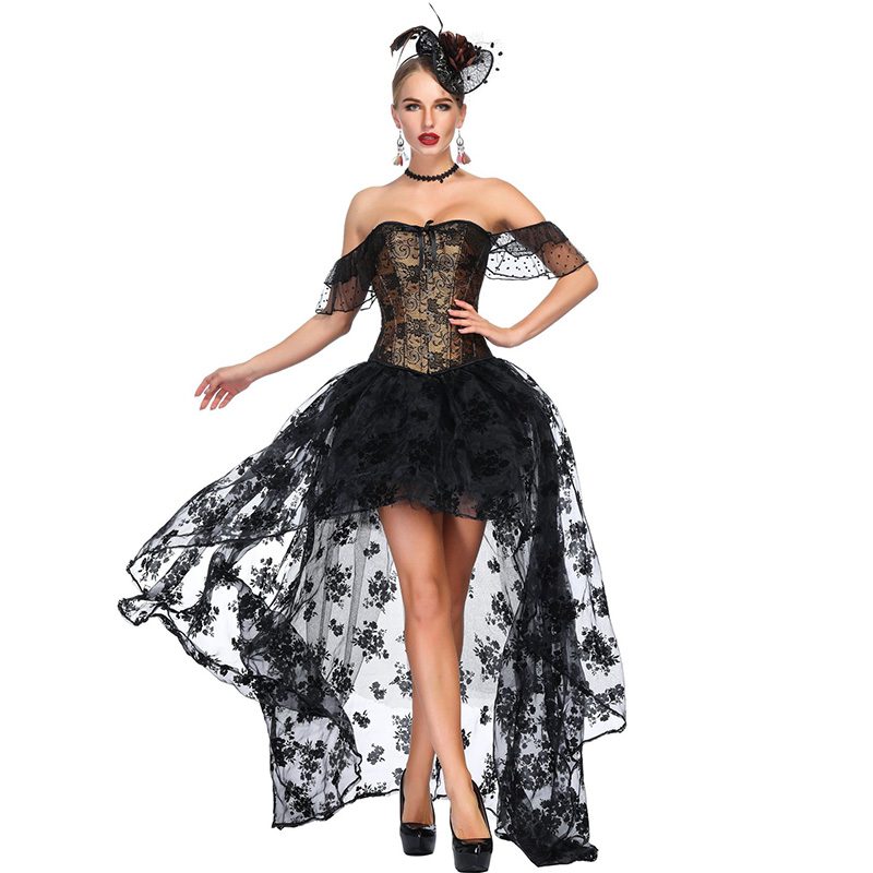 Black & Gold Floral Pattern Victorian   Corset   Dress Gothic Clothing Steampunk Korsett For Women Sexy Vintage Burlesque Costume