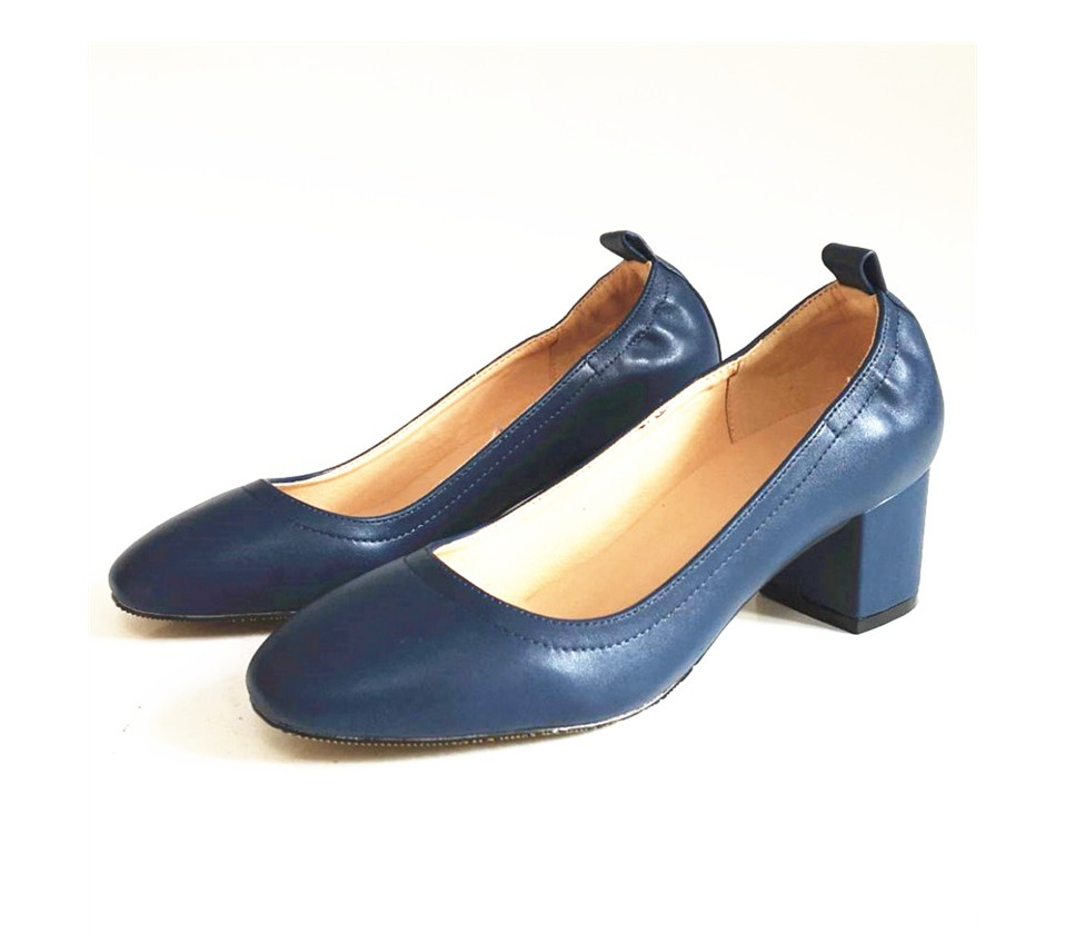 Shoes Women Genuine Leather Fashion Office and Career Rounded Toe 2-inch Block Heel Fashion Office Lady Pumps Size 34-41, K-307 54