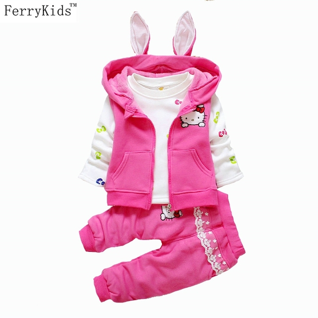 2016 Winter Velvet Toddler Girl Clothing Sets 3pcs or 2pcs Warn Coats Kids Clothes Sets Baby Girls Winter Clothes Hello Kitty