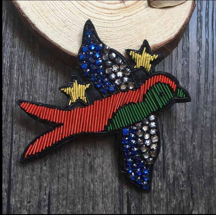 Diy Handmade Embroidered Patch: Bead Bird Silk Emboridered Patch Brooch India Silk Wire