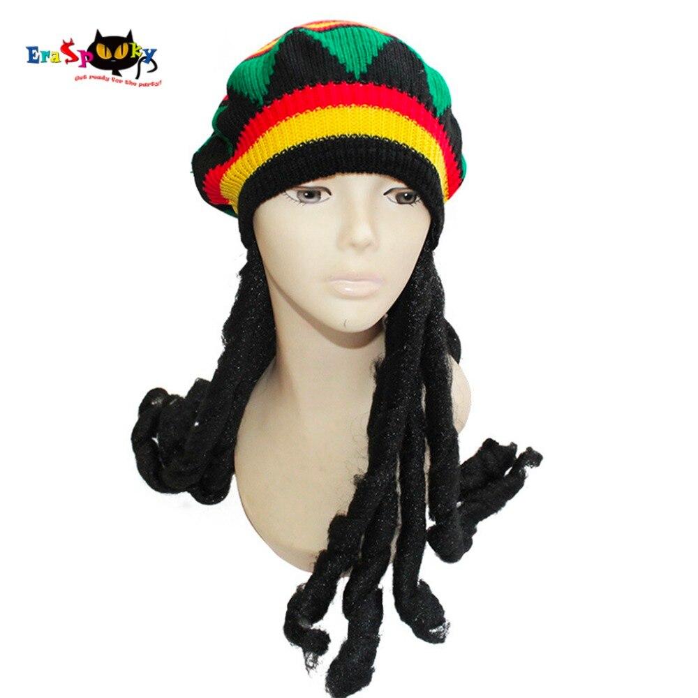 Eraspooky 70s 80s Vintage Cosplay Hippies Hat with Wig Dreadlocks Jamaican Halloween costume beret carnival party hair Knit cap