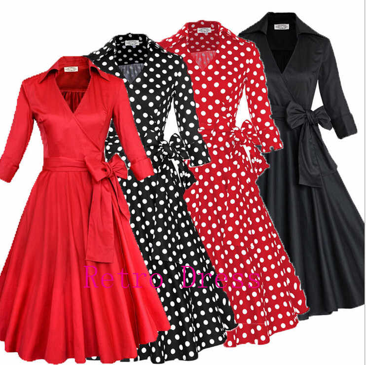 0b30109030 Women Rockabilly Swing Dress 2016 Formal Evening Party Elegant Casual  Dresses Ladies Belted Vintage Polka Dot