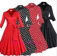 Women Rockabilly Swing Dress 2016 Formal Evening Party Elegant Casual Dresses Ladies Belted Vintage Polka Dot 50s Dress