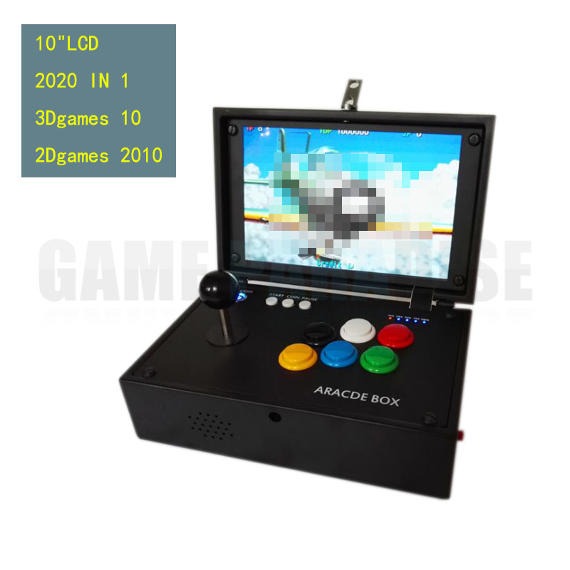 цена на box treasure 3D mini arcade game machine with 10 inch LCD and built in 2020 game in 1 main board joystick button HDMI VGA output