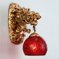 Vintage China Style Resin Dragon Wall Lamp Luxury Lighting E27 Glass Lampshade Home Decoration Top Fashion Living Room Hallway