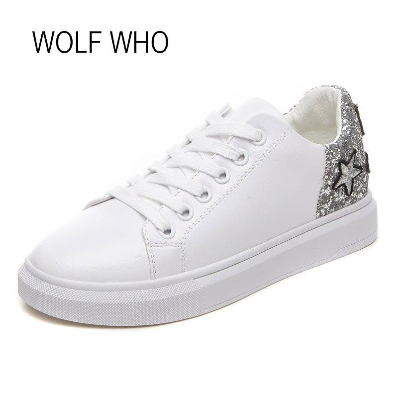 WOLF WHO 2018 Autumn Women White Sneakers Ladies Leather Fashion Shoes Female Krasovki Tenis Femininos Casual Basket Femme h-438 wolf who women winter shoes fur wedge fashion sneakers women hidden heels basket femme tenis femininos casual h 152