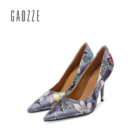 GAOZZE 2017 autumn new high heeled pumps shoes women's shallow mouth high heels pumps pointed toe shoes floral silk high heeled
