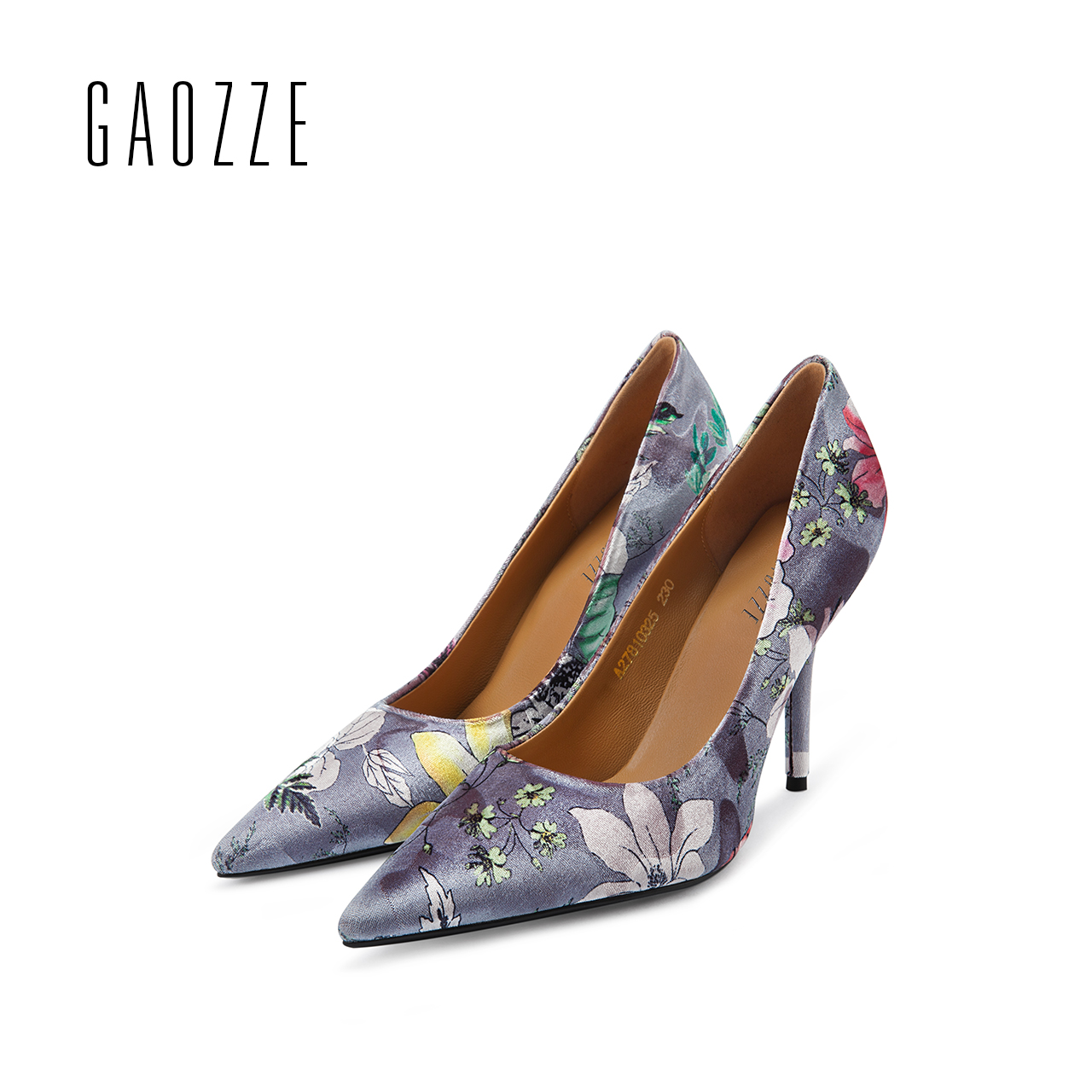 GAOZZE 2017 autumn new high-heeled pumps shoes women's shallow mouth high heels pumps pointed toe shoes floral silk high-heeled 2017 spring autumn shoes shallow mouth pointed toe fashion high heeled velvet thin heels pumps office party shoes