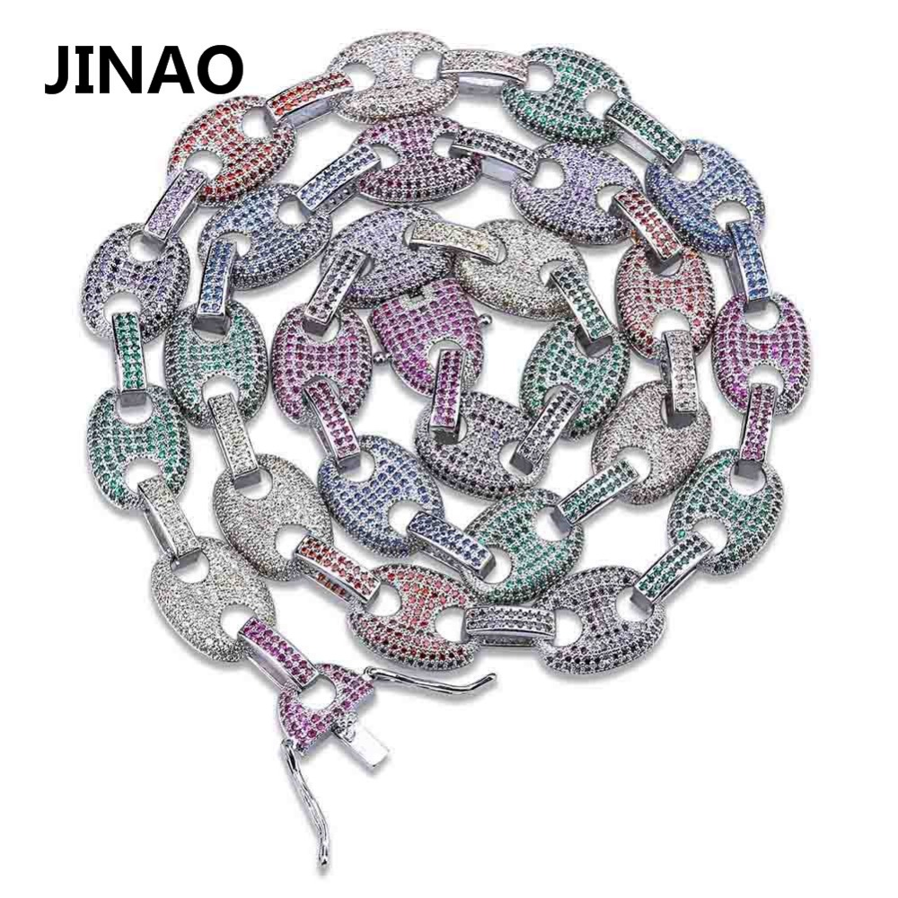 JINAO Hip Hop 11mm Copper Gold Silver Color Plated Iced Out Rainbow Zircon Puff Marine Anchpr Chain Link Bling Necklace for Men