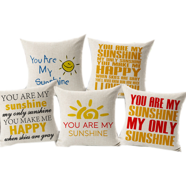 You Are My Sunshine Best Gife Thick Linen Cushion With No Filling 45x45cm Home Decorative Pillow