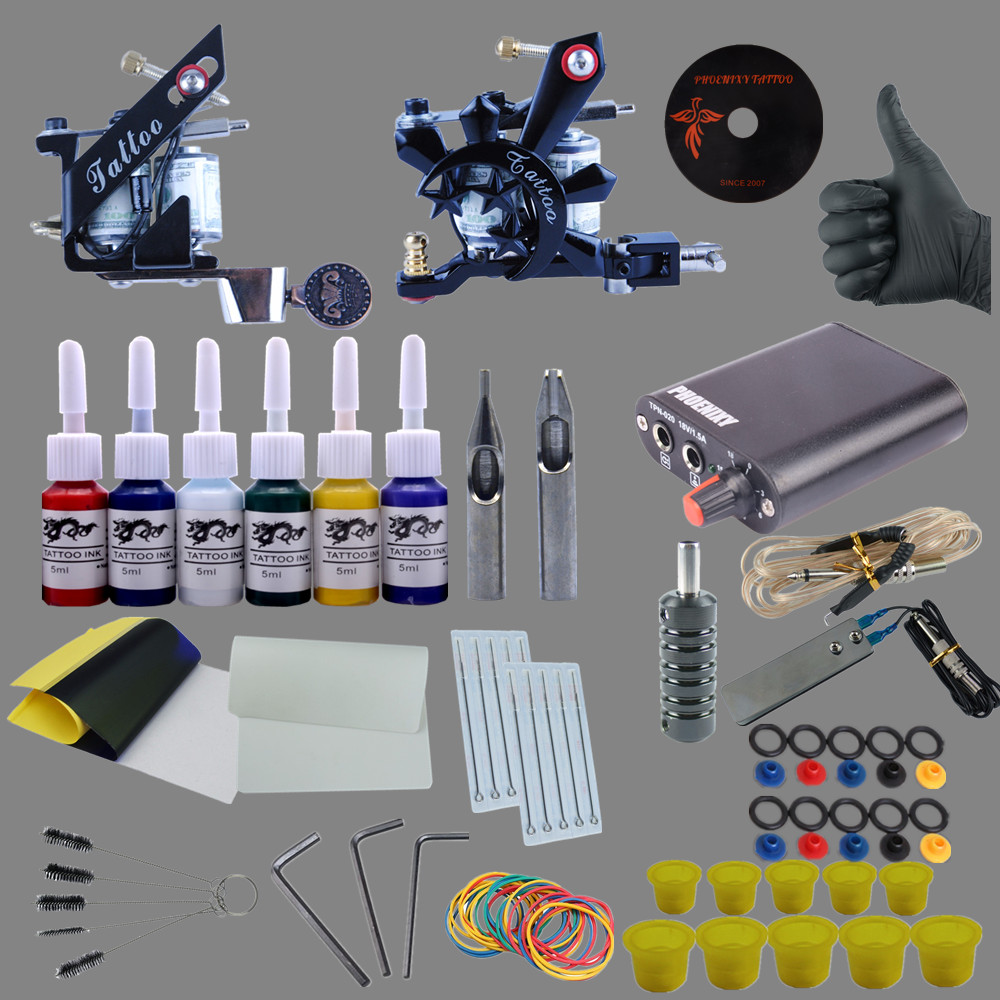 Tattoo 2 Electrical Gun 6 Colors Power Supply Tattoo Ink Permanent Supplies Needles Grips Tattoo Makeup Kits