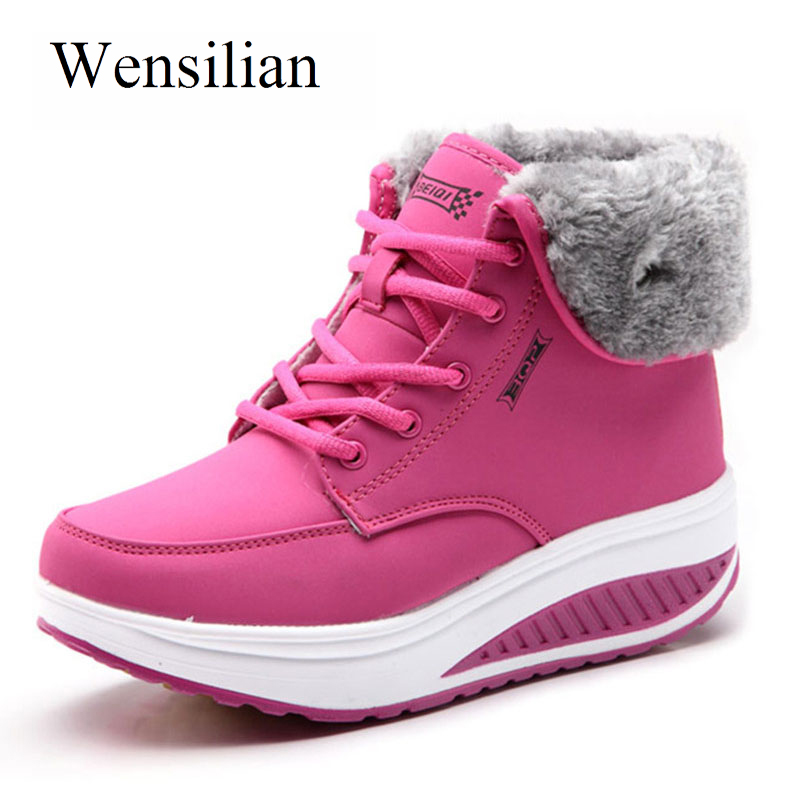 Winter Boots Women Platform Shoes Round Toe Wedges Snow Ankle Boots For Women Keep Warm Fur Lace-up Casual Shoes Bota Feminina