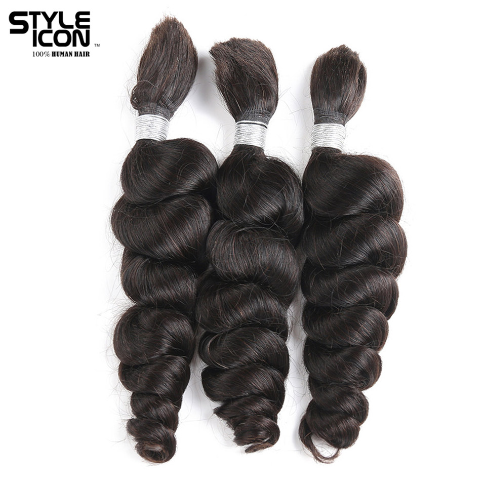 Styleicon 3 Bundles Human Braiding Hair Bulk Hair For ...